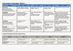 Information Evaluation Rubric