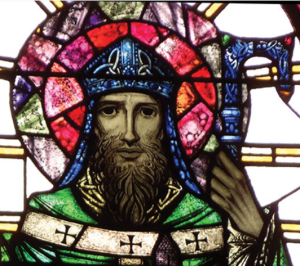 The stained glass image of St Patrick hails from Cabinteely church, Dublin